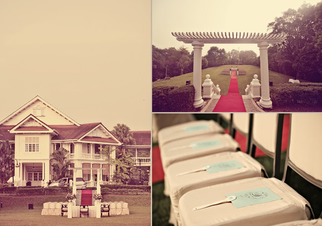 photos of chairs arranged for the wedding, the carcosa stately mansion