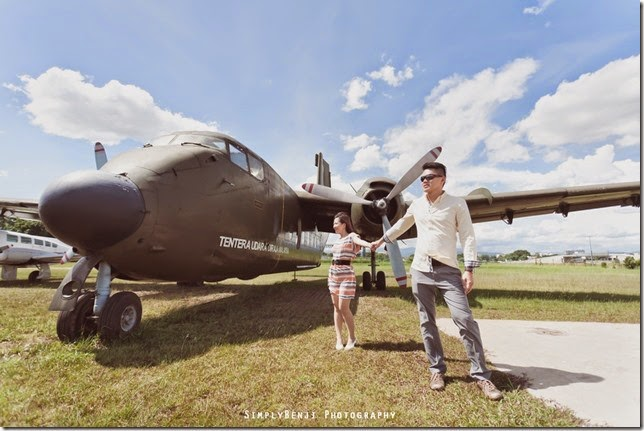 posing with plane