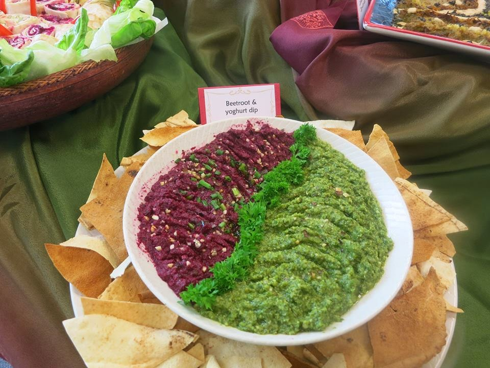 purple and green dip with chips