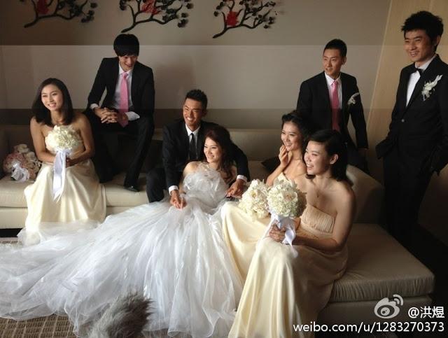 pretty bride, groomsmen former badminto players