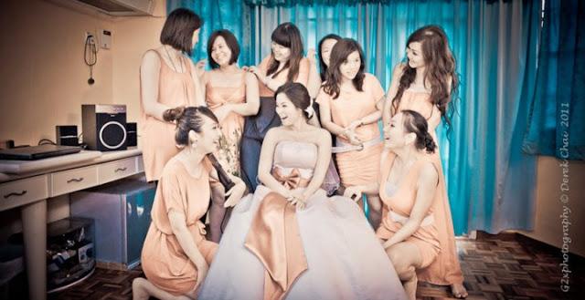 nice colors, peach bride maids