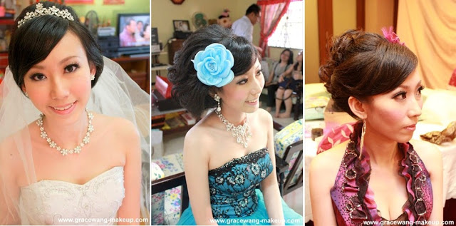 big blue flower, purple cleavage dress