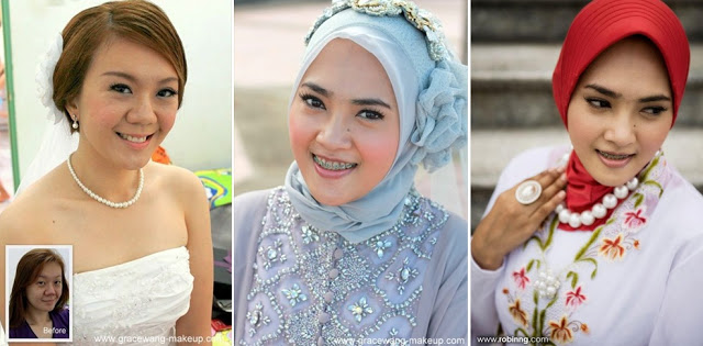 pearl necklace blue red tudung