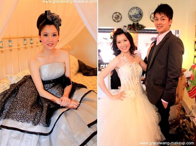 black hair band, shorter bride