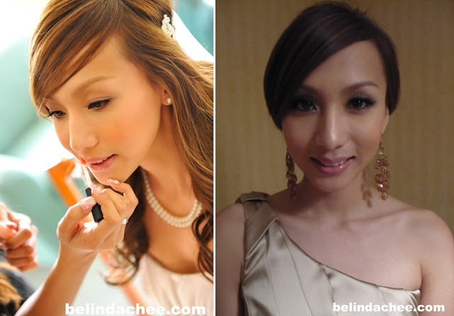 Makeup and by Hebe. From left: light purple eyeshadow and pink lip subtle look for church ceremony. More dramatic look with smokey eyes for wedding dinner.