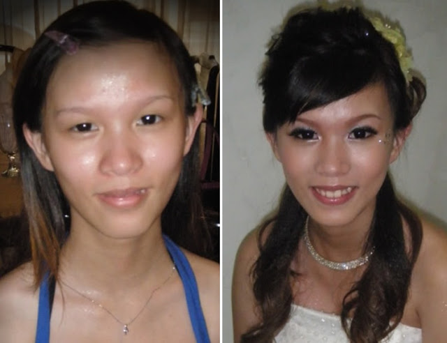 amazing before and after photo of bridal makeup
