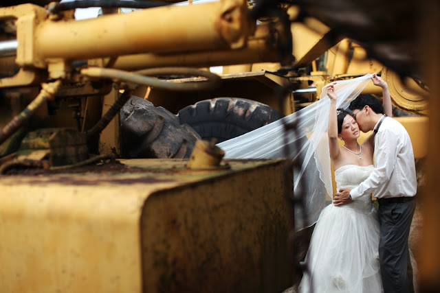 wedding photo tractor