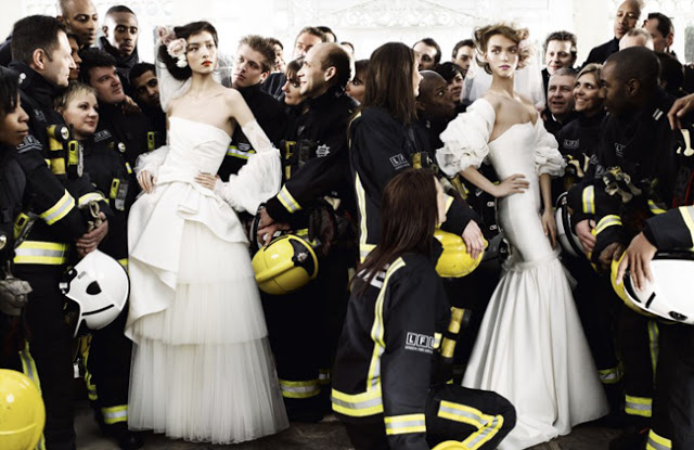 with firemen and bride