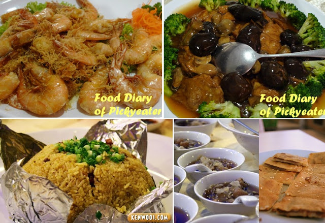 Butter pan-fried king prawns, 6. Braised mushroom, dried oyster, bean curd skin & broccoli, 7. Special fried rice, 8. Dessert: sweetened lotus seeds with lily bulbs and red bean pancake