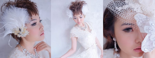 with crystal necklace, for model bridal look