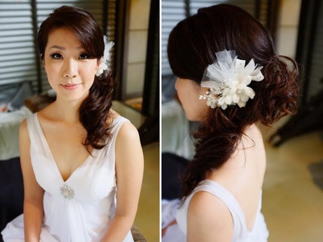 side pony, v neck wedding dress