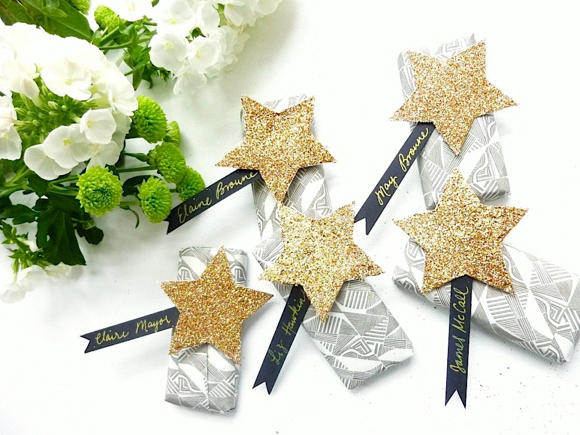 stars decorated ribbon on the gift