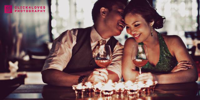 groom bride light moment, having wine
