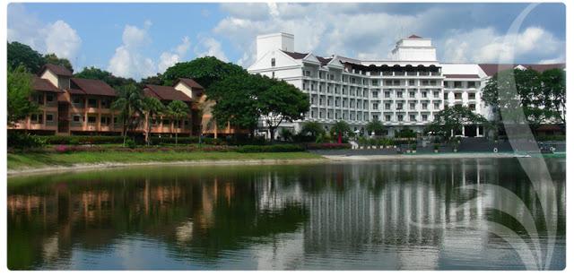 big lake, white hotel chalets