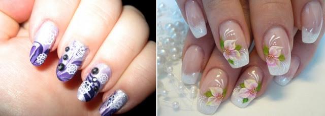 blue floral nail