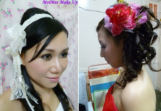 bride wearing hair band and floral hair piece