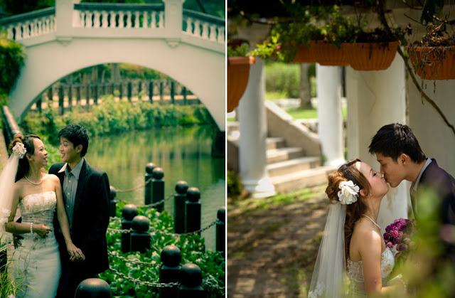 kissing wedding photo, bridge, pillars, danling flowers