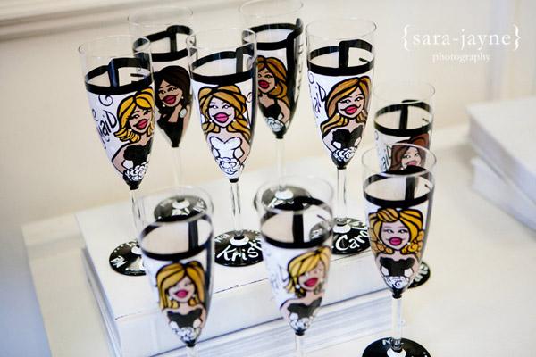 bride's maids glasses favor