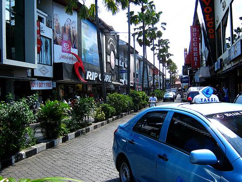 shopping in bal, branded stuff, blue bird taxi