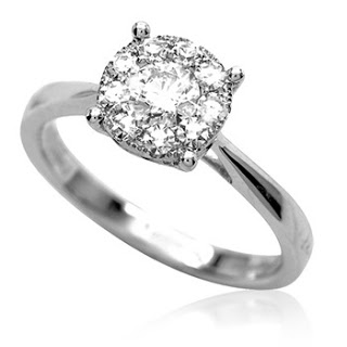 solitaire surrounded by 9 smaller diamonds malaysia wedding