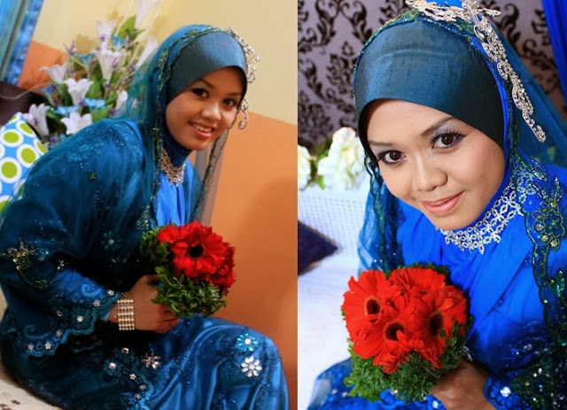 blue wedding dress malay wedding