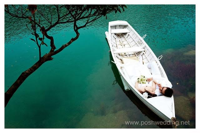 beautiful lake white boat