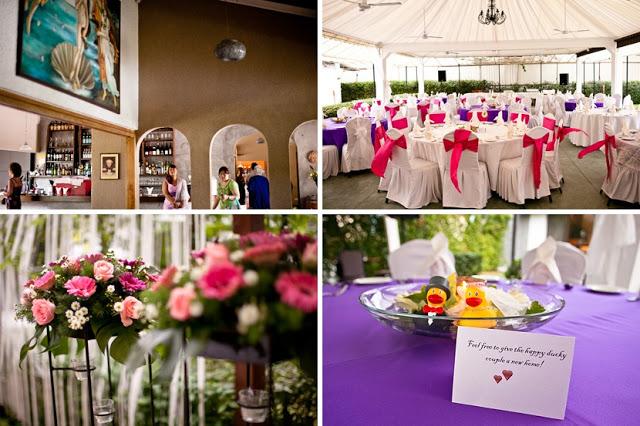 wine bottles, flower stand outdoor wedding