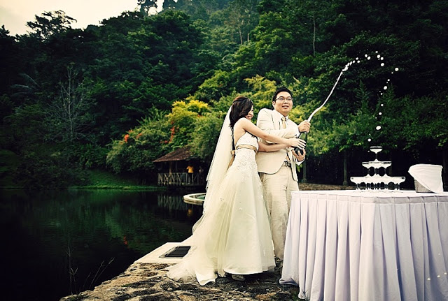 beside lake garden wedding