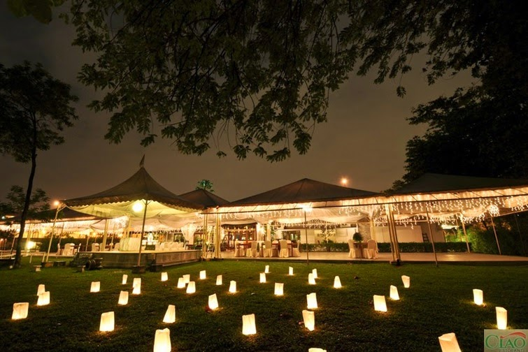 lanterns on the grass Ciao Ristorante