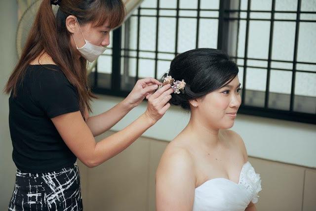 adjusting hair