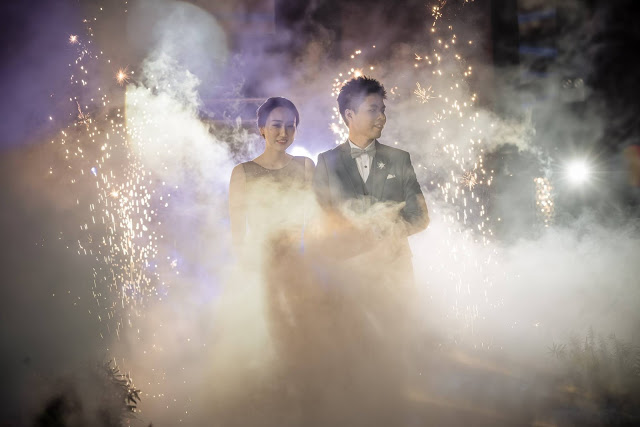 smoky and fire works Ixora Penang wedding
