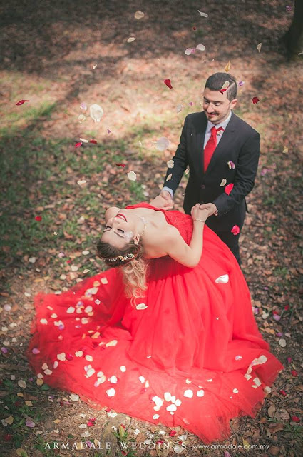 red gown petals