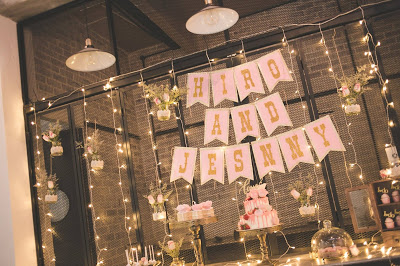 fairy lights and potted plants
