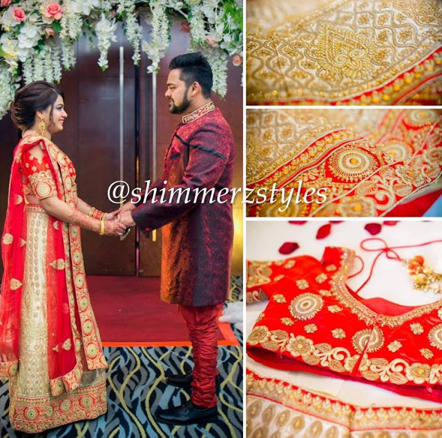 Indian bridal gown red and gold