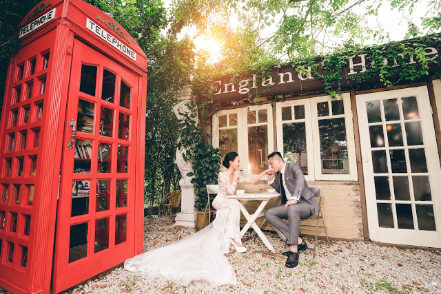 red telephone box pre wedding England House penang