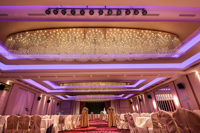 fully carpeted, gorgeous ballroom