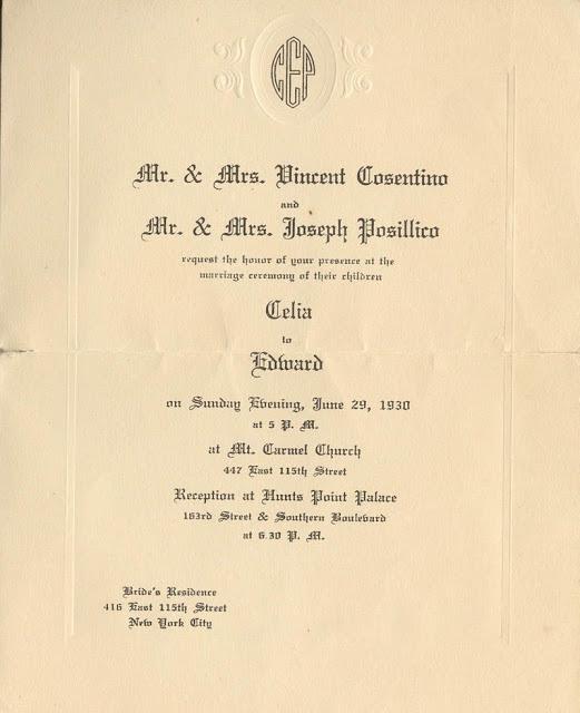 wedding invite 1930s