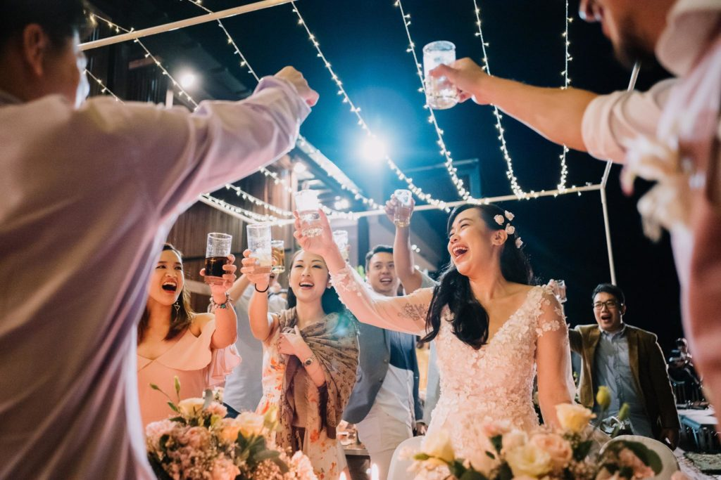 happiness in wedding photo