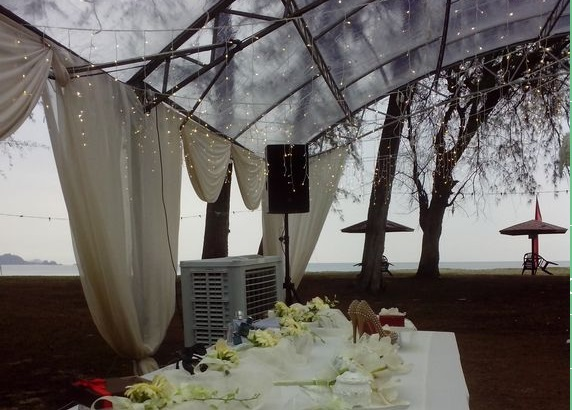 holiday villa cherating wedding garden transparent tent beach view