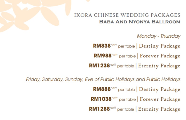 ixora penang wedding package 2020- baba nyonga ballroom