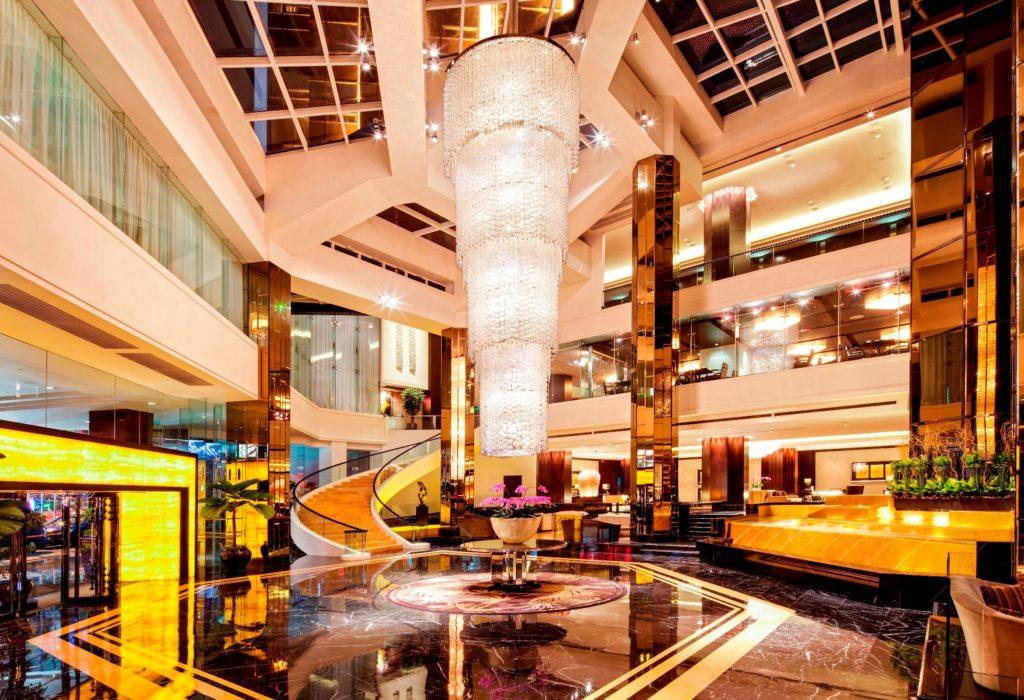 grand lobby looks like shopping mall grand millennium kl