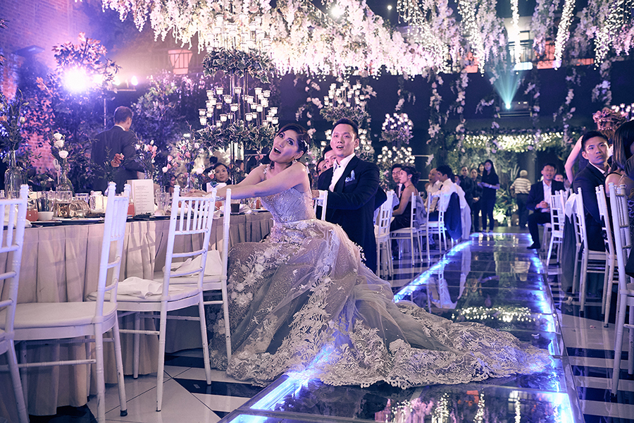 majestic theater penang wedding glass isle walkway couple bride