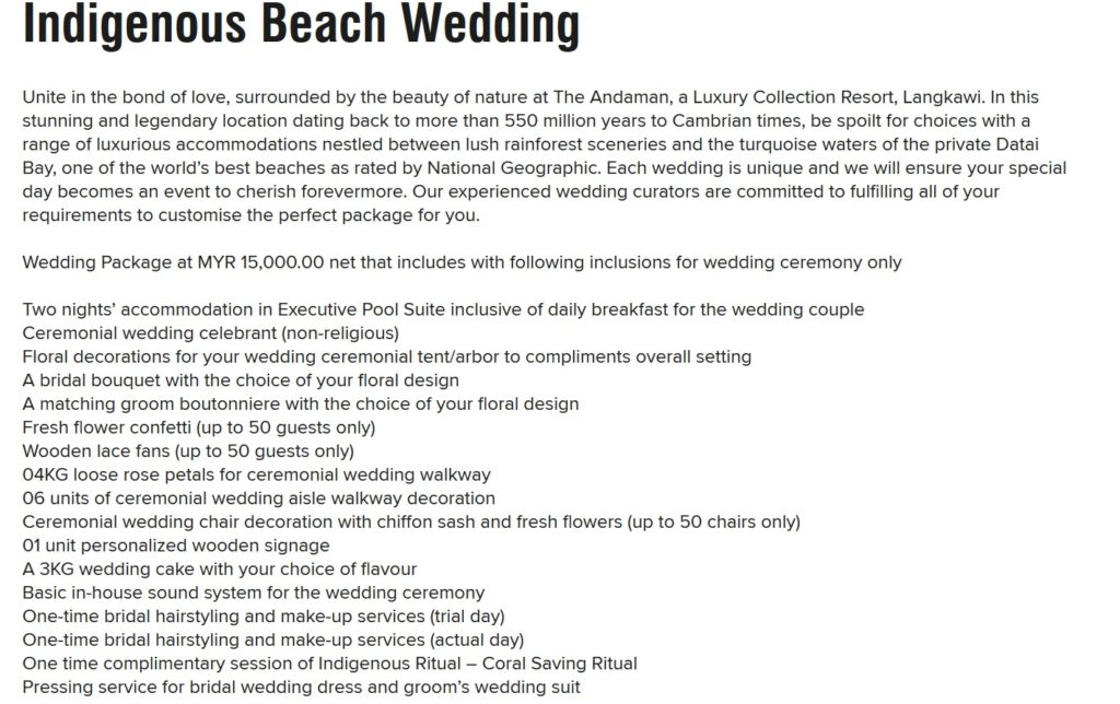 the andaman langkaw beach wedding package 2020