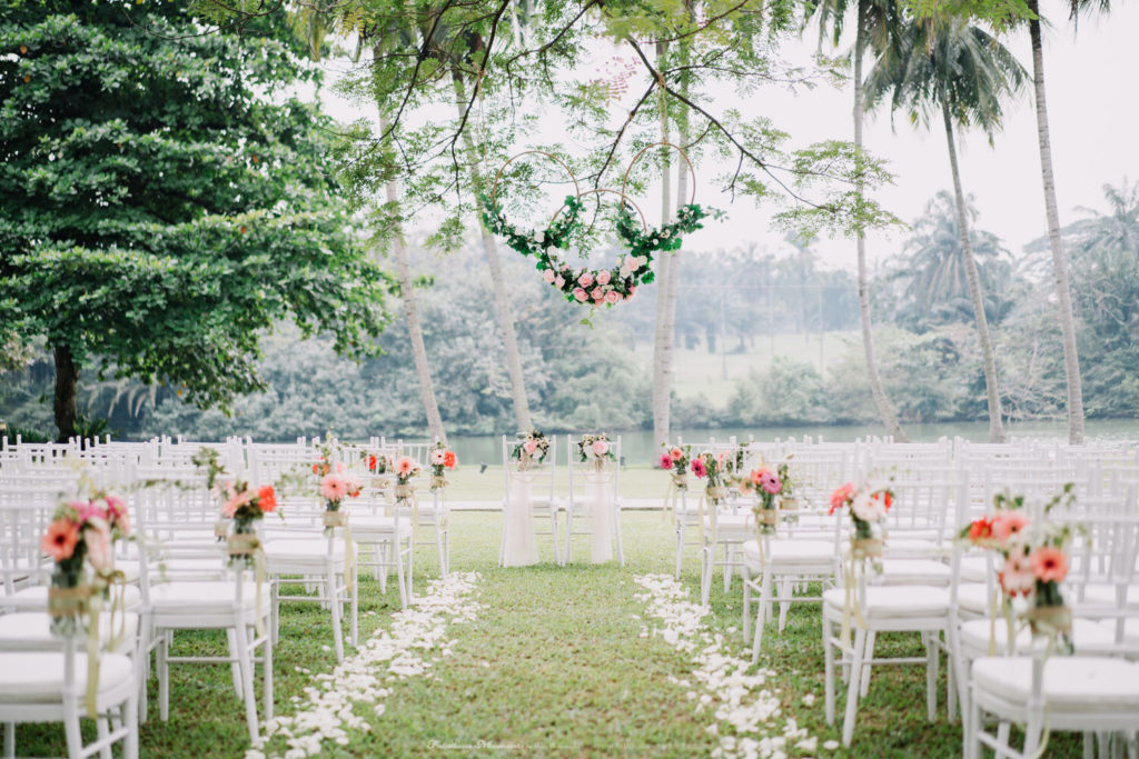 the saujana hotel garden wedding fabulous moments white chairs