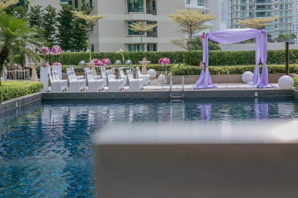 wedding at G Hotel Penang poolside garden outdoor