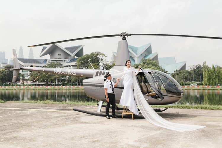 wedding helicopter package sumira place