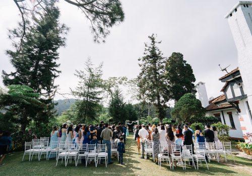 Garden wedding on a hill
